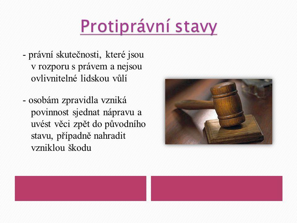 - právní skutečnosti, které jsou v rozporu s právem a nejsou ovlivnitelné lidskou vůlí - osobám zpravidla vzniká povinnost sjednat nápravu a uvést věc
