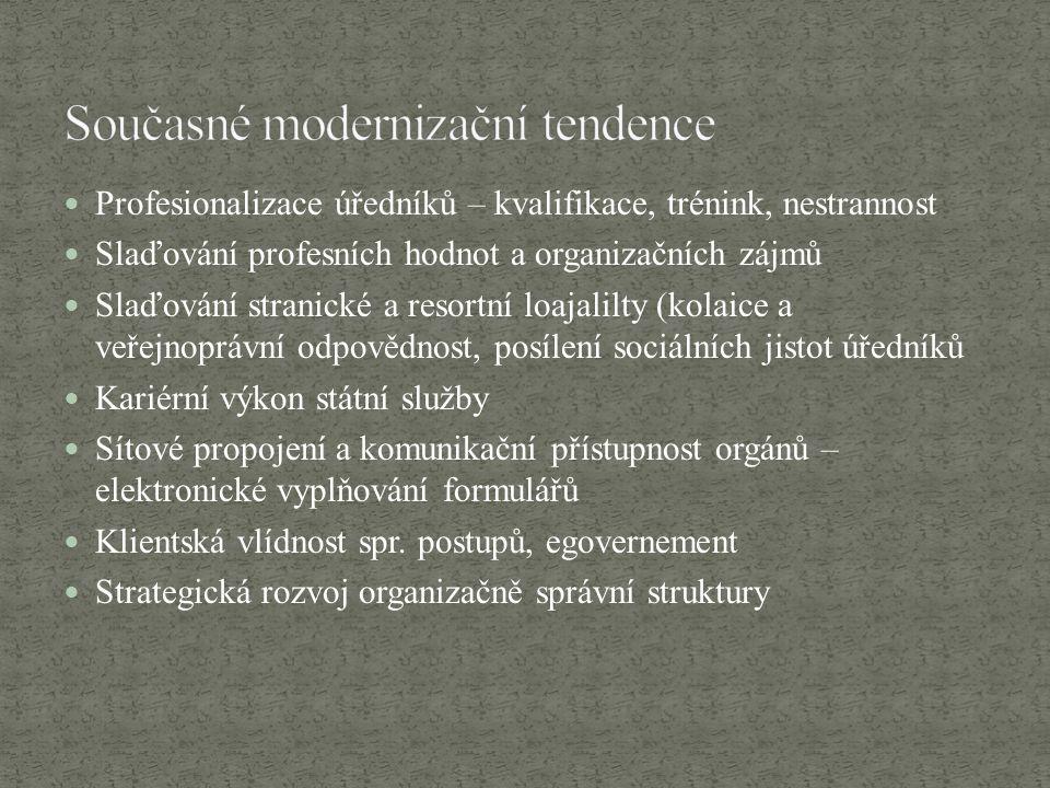 Profesionalizace úředníků – kvalifikace, trénink, nestrannost Slaďování profesních hodnot a organizačních zájmů Slaďování stranické a resortní loajali
