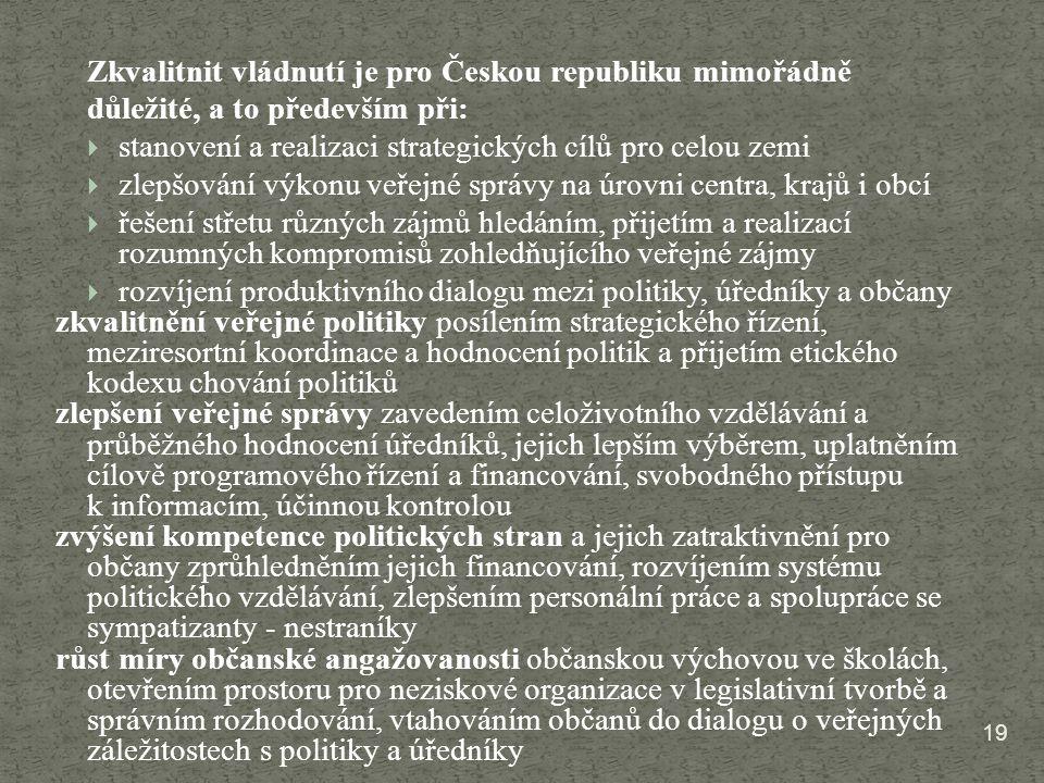19 Zkvalitnit vládnutí je pro Českou republiku mimořádně důležité, a to především při:  stanovení a realizaci strategických cílů pro celou zemi  zle