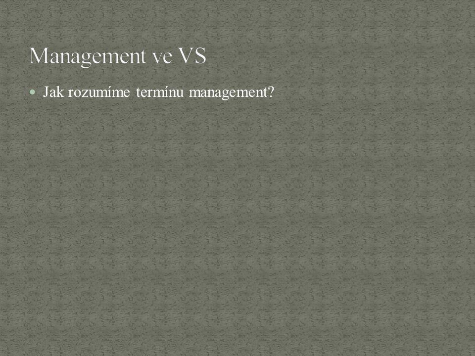 Jak rozumíme termínu management?