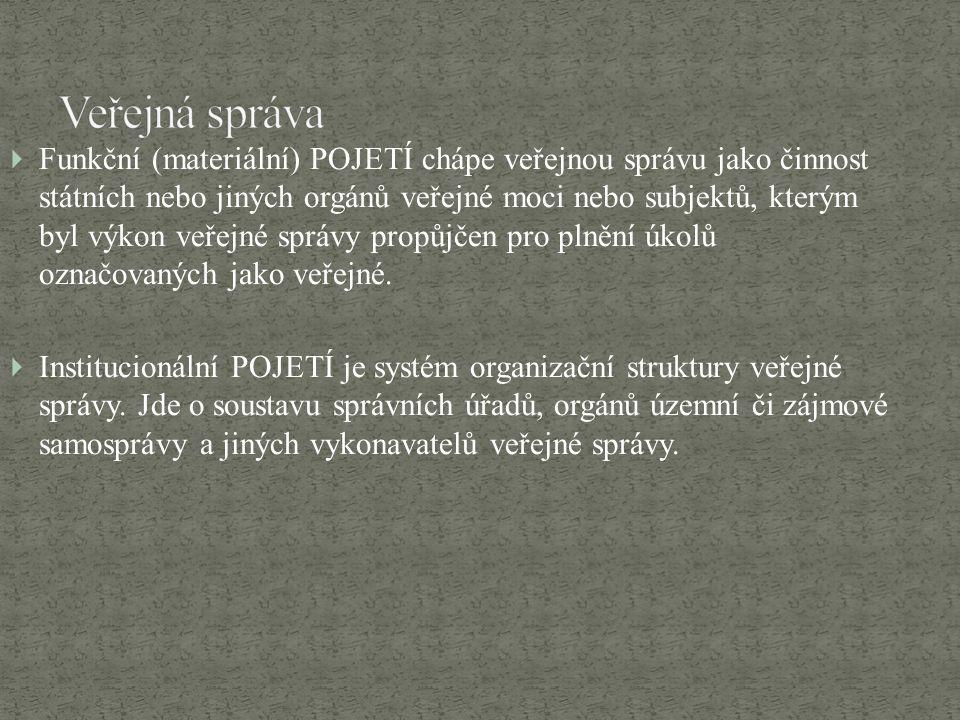  Funkční (materiální) POJETÍ chápe veřejnou správu jako činnost státních nebo jiných orgánů veřejné moci nebo subjektů, kterým byl výkon veřejné sprá