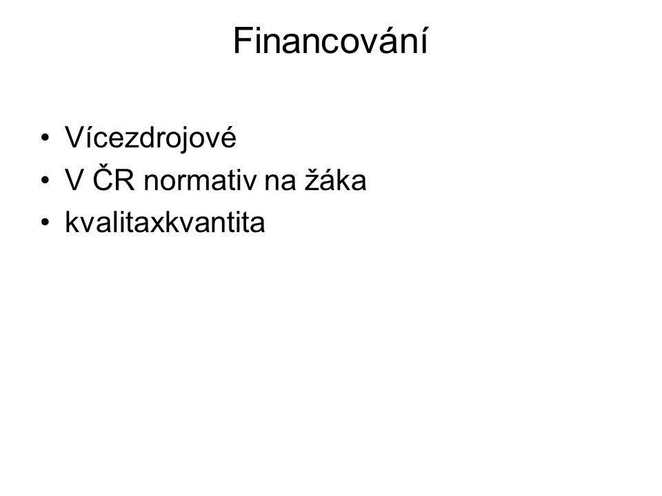 Financování Vícezdrojové V ČR normativ na žáka kvalitaxkvantita
