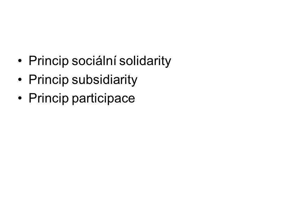 Princip sociální solidarity Princip subsidiarity Princip participace