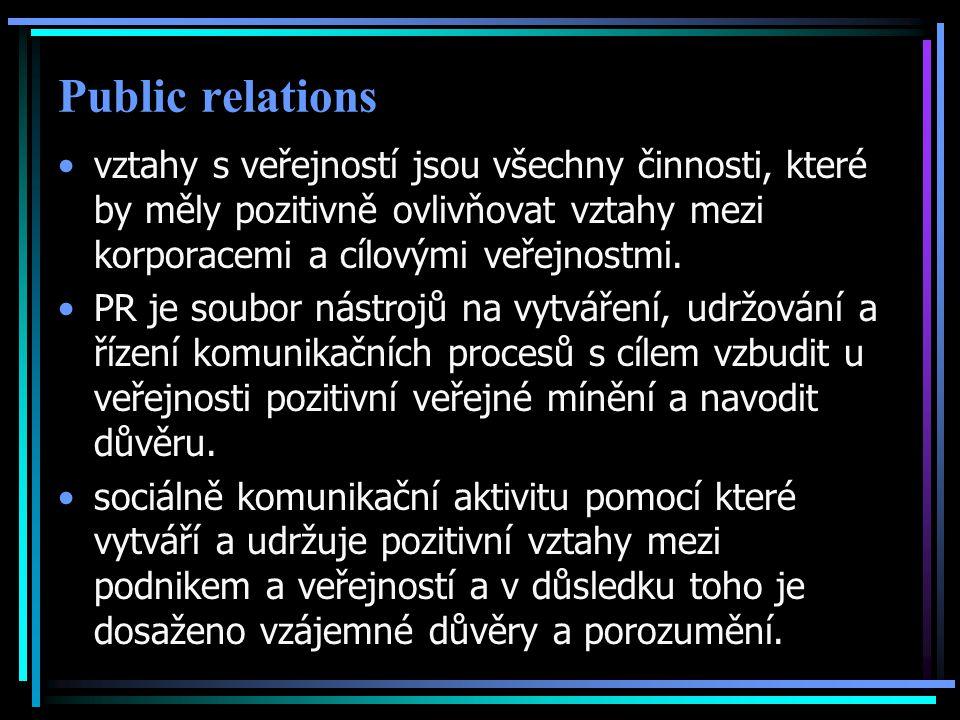 Public relations vztahy s veřejností jsou všechny činnosti, které by měly pozitivně ovlivňovat vztahy mezi korporacemi a cílovými veřejnostmi.