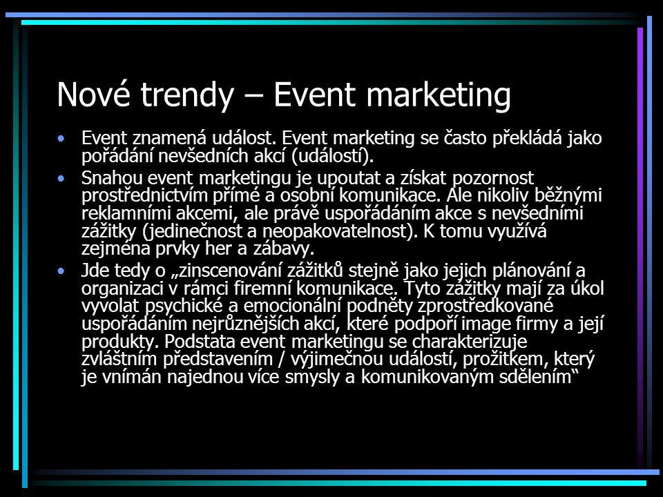 Nové trendy – Event marketing Event znamená událost.