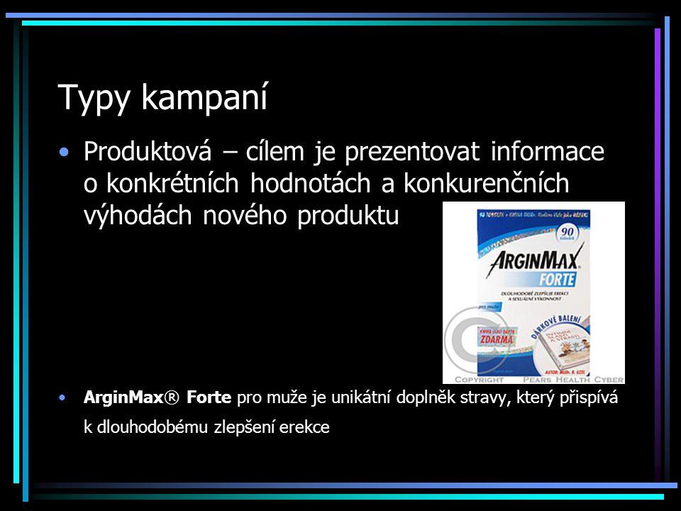 Typy kampaní Produktová – cílem je prezentovat informace o konkrétních hodnotách a konkurenčních výhodách nového produktu ArginMax® Forte pro muže je unikátní doplněk stravy, který přispívá k dlouhodobému zlepšení erekce