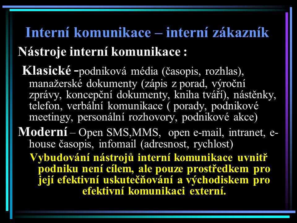 Interní komunikace – interní zákazník Nástroje interní komunikace : Klasické - podniková média (časopis, rozhlas), manažerské dokumenty (zápis z porad, výroční zprávy, koncepční dokumenty, kniha tváří), nástěnky, telefon, verbální komunikace ( porady, podnikové meetingy, personální rozhovory, podnikové akce) Moderní – Open SMS,MMS, open e-mail, intranet, e- house časopis, infomail (adresnost, rychlost) Vybudování nástrojů interní komunikace uvnitř podniku není cílem, ale pouze prostředkem pro její efektivní uskutečňování a východiskem pro efektivní komunikaci externí.