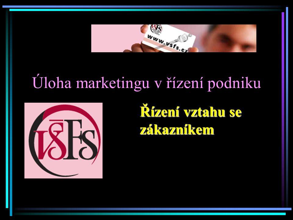 Úloha marketingu v řízení podniku Řízení vztahu se zákazníkem