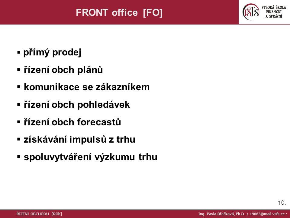 10. ŘÍZENÍ OBCHODU [ROb] Ing. Pavla Břečková, Ph.D. / 19063@mail.vsfs.cz:: FRONT office [FO]  přímý prodej  řízení obch plánů  komunikace se zákazn