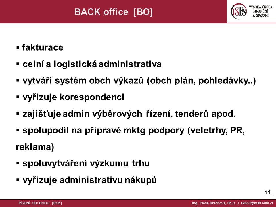 11. ŘÍZENÍ OBCHODU [ROb] Ing. Pavla Břečková, Ph.D. / 19063@mail.vsfs.cz BACK office [BO]  fakturace  celní a logistická administrativa  vytváří sy