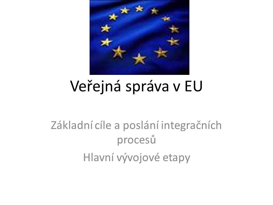 Veřejná správa v EU Základní cíle a poslání integračních procesů Hlavní vývojové etapy