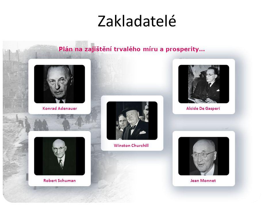 Zakladatelé Plán na zajištění trvalého míru a prosperity… Konrad Adenauer Robert Schuman Winston Churchill Alcide De Gasperi Jean Monnet