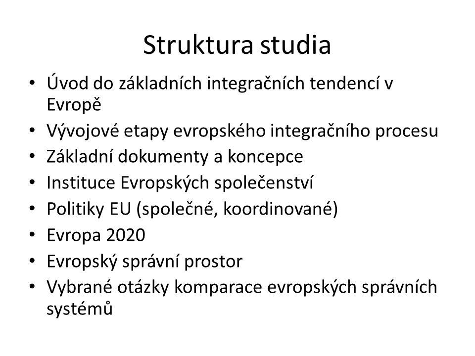 Struktura studia Úvod do základních integračních tendencí v Evropě Vývojové etapy evropského integračního procesu Základní dokumenty a koncepce Instit