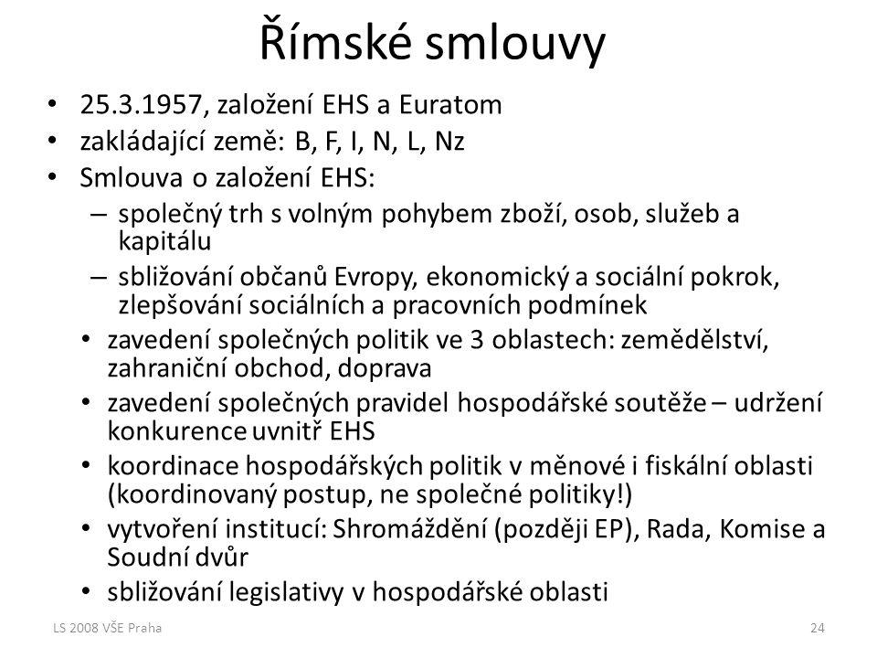Římské smlouvy 25.3.1957, založení EHS a Euratom zakládající země: B, F, I, N, L, Nz Smlouva o založení EHS: – společný trh s volným pohybem zboží, os