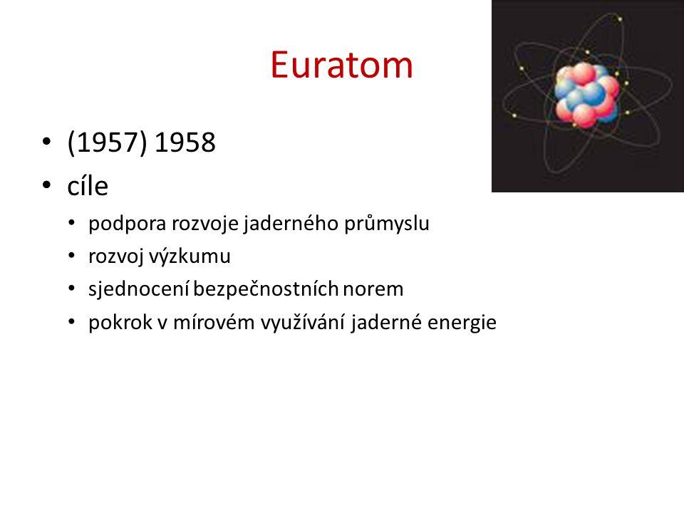 Euratom (1957) 1958 cíle podpora rozvoje jaderného průmyslu rozvoj výzkumu sjednocení bezpečnostních norem pokrok v mírovém využívání jaderné energie