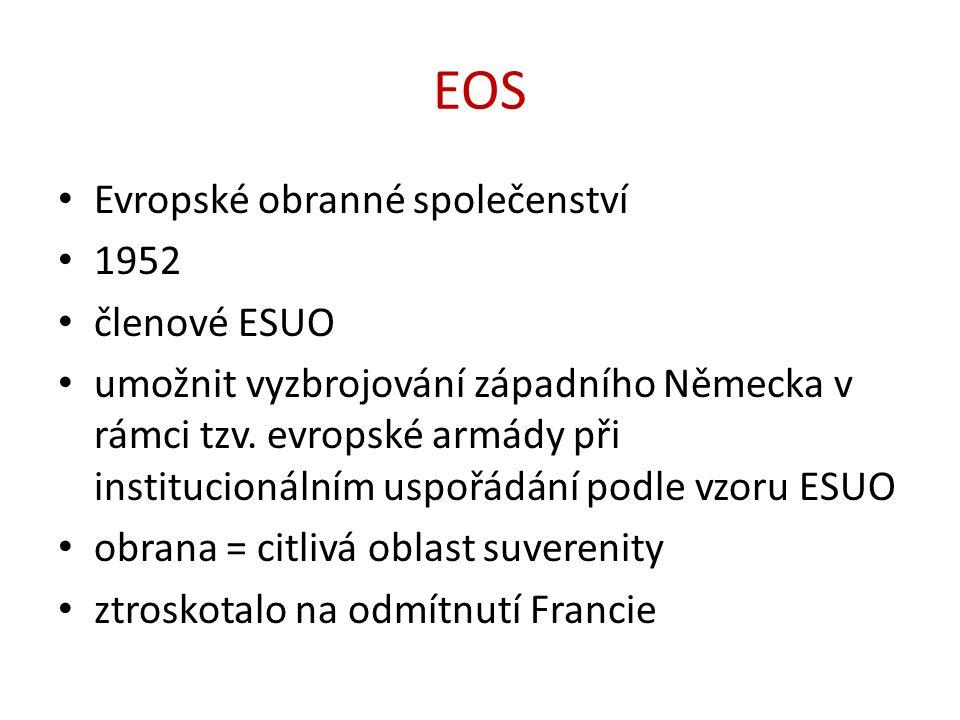 EOS Evropské obranné společenství 1952 členové ESUO umožnit vyzbrojování západního Německa v rámci tzv. evropské armády při institucionálním uspořádán