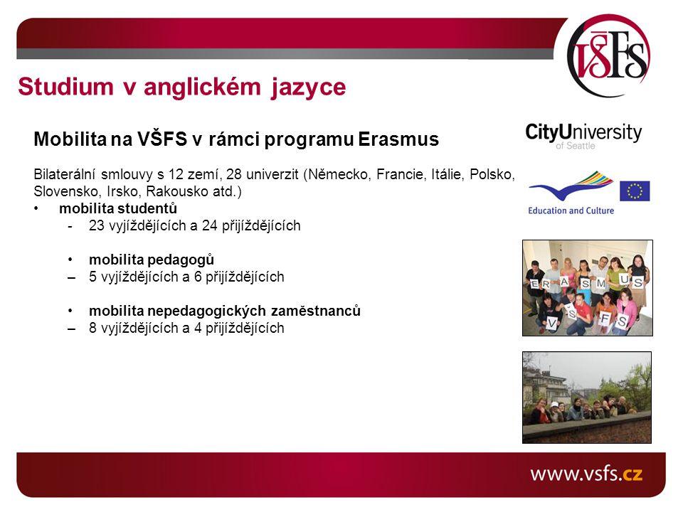 Mobilita na VŠFS v rámci programu Erasmus Bilaterální smlouvy s 12 zemí, 28 univerzit (Německo, Francie, Itálie, Polsko, Slovensko, Irsko, Rakousko atd.) mobilita studentů -23 vyjíždějících a 24 přijíždějících mobilita pedagogů –5 vyjíždějících a 6 přijíždějících mobilita nepedagogických zaměstnanců –8 vyjíždějících a 4 přijíždějících Studium v anglickém jazyce