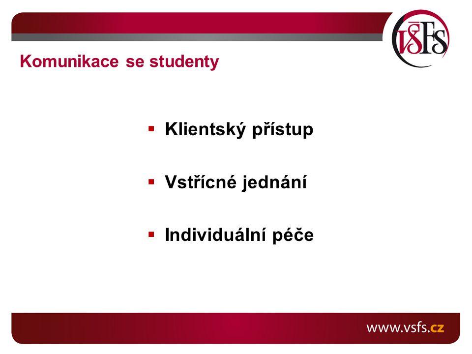  Klientský přístup  Vstřícné jednání  Individuální péče Komunikace se studenty