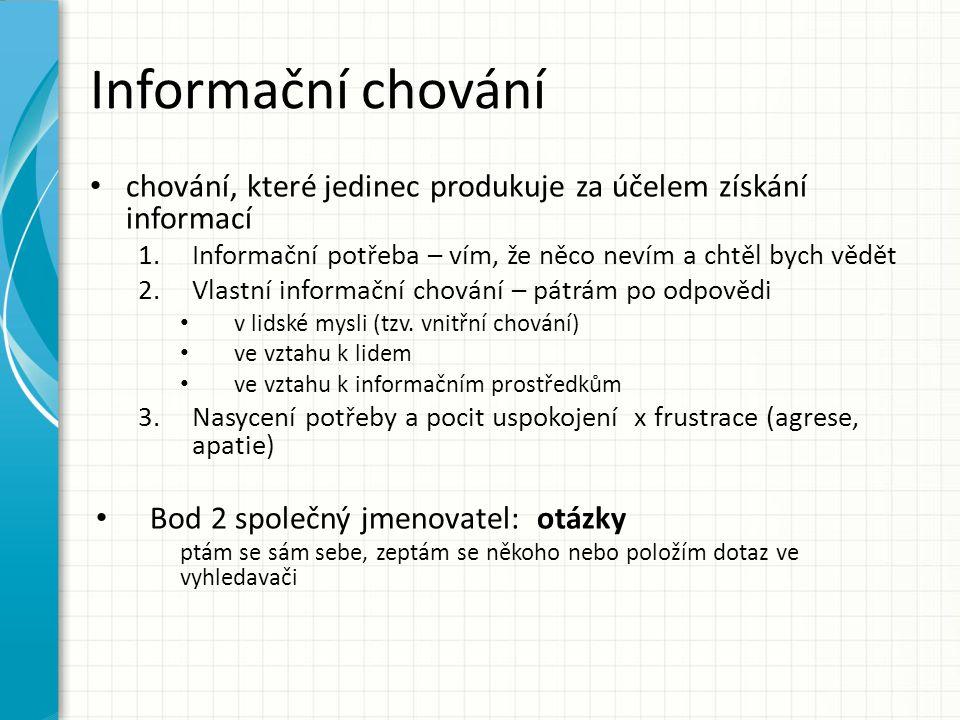 Informační chování chování, které jedinec produkuje za účelem získání informací 1.Informační potřeba – vím, že něco nevím a chtěl bych vědět 2.Vlastní informační chování – pátrám po odpovědi v lidské mysli (tzv.