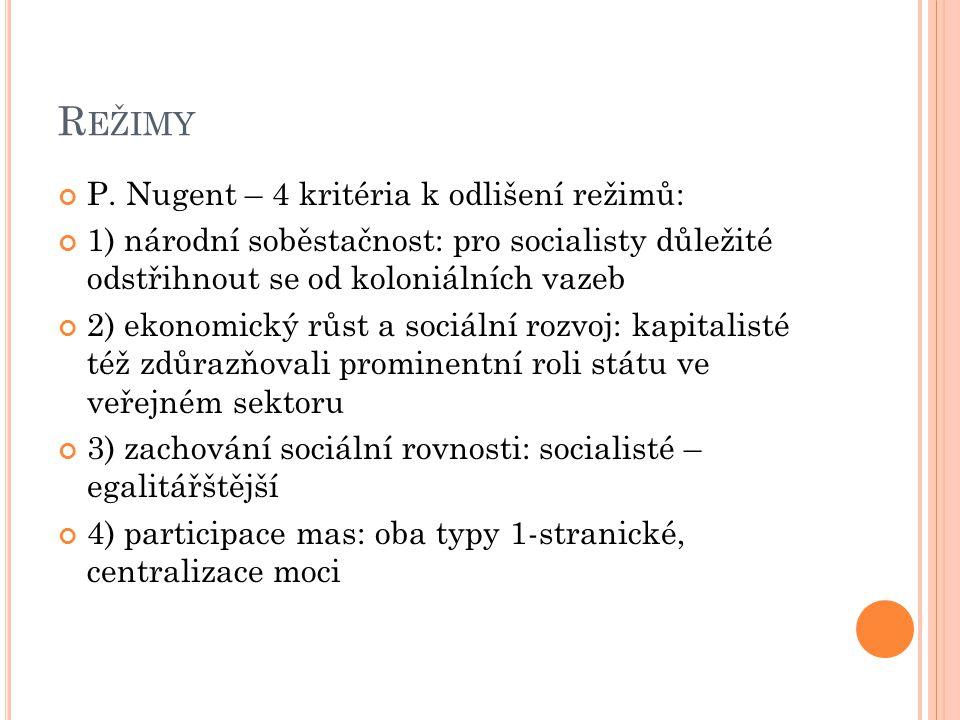 R EŽIMY P. Nugent – 4 kritéria k odlišení režimů: 1) národní soběstačnost: pro socialisty důležité odstřihnout se od koloniálních vazeb 2) ekonomický