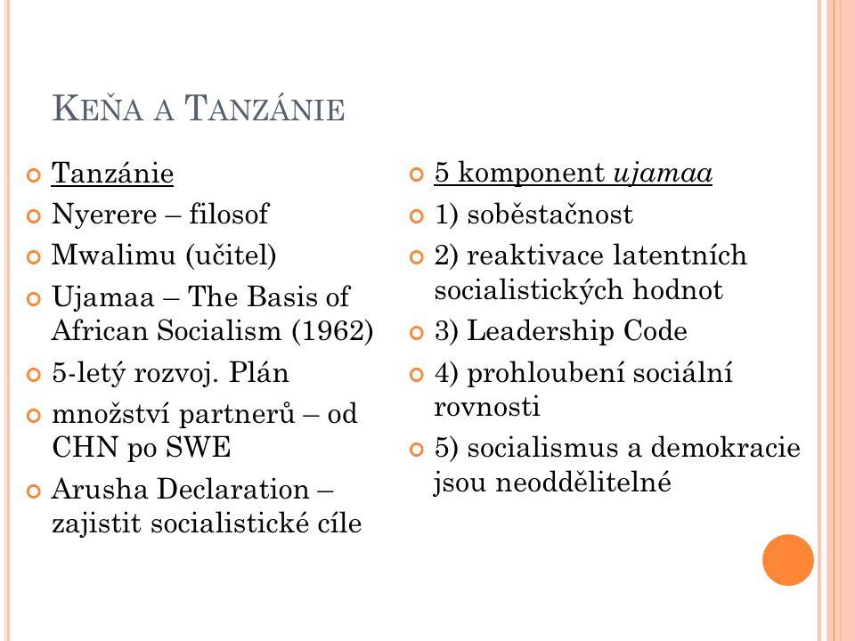 K EŇA A T ANZÁNIE Tanzánie Nyerere – filosof Mwalimu (učitel) Ujamaa – The Basis of African Socialism (1962) 5-letý rozvoj.