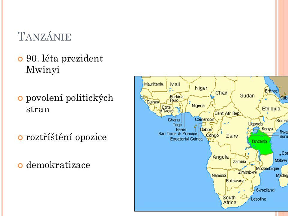 T ANZÁNIE 90. léta prezident Mwinyi povolení politických stran roztříštění opozice demokratizace