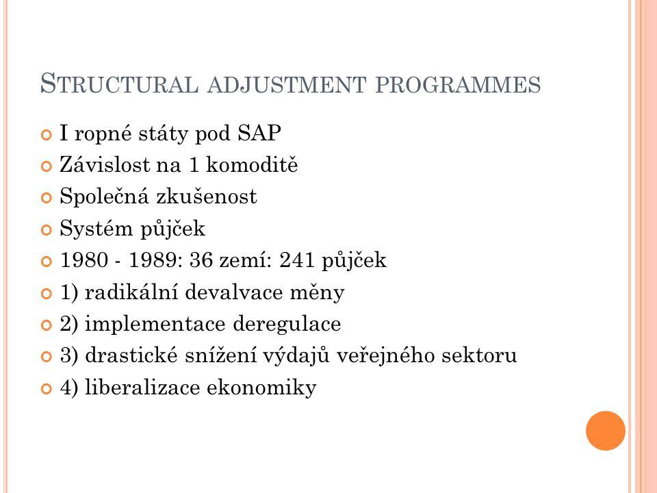 S TRUCTURAL ADJUSTMENT PROGRAMMES I ropné státy pod SAP Závislost na 1 komoditě Společná zkušenost Systém půjček 1980 - 1989: 36 zemí: 241 půjček 1) radikální devalvace měny 2) implementace deregulace 3) drastické snížení výdajů veřejného sektoru 4) liberalizace ekonomiky