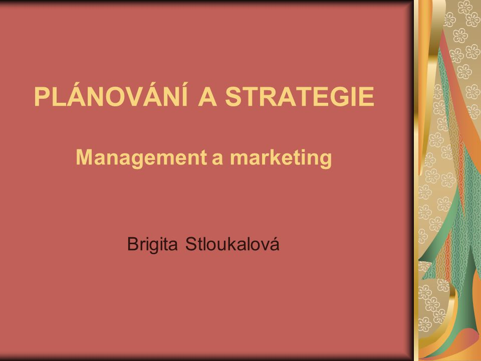 PLÁNOVÁNÍ A STRATEGIE Management a marketing Brigita Stloukalová