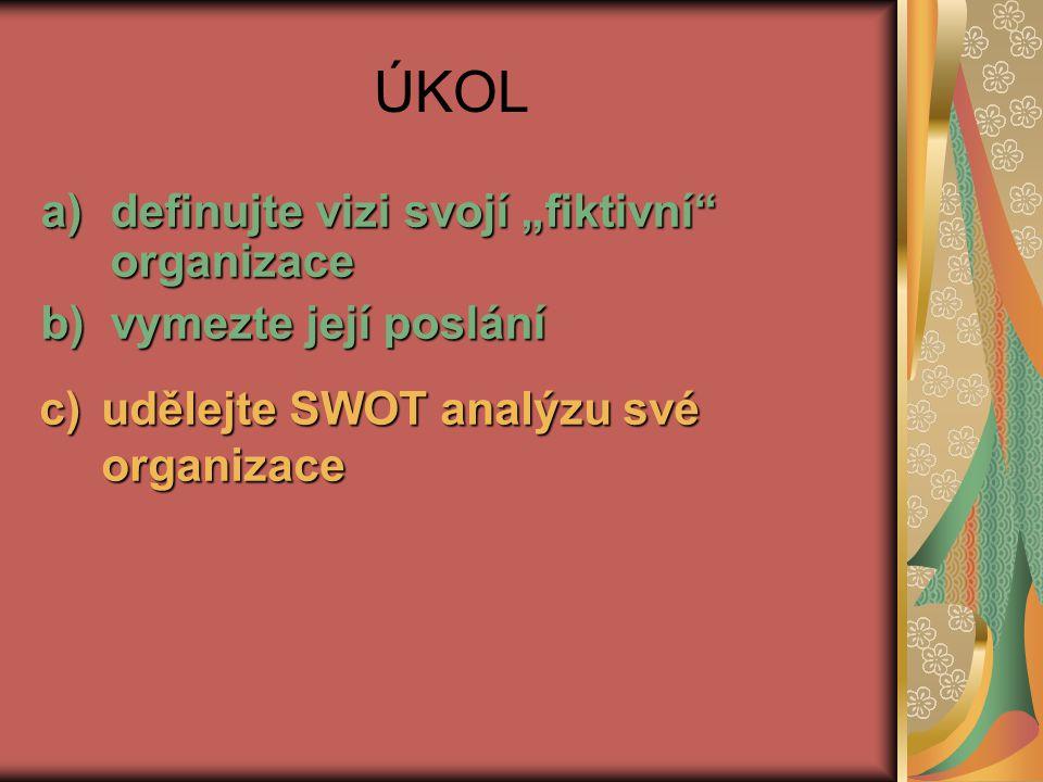 """ÚKOL a)definujte vizi svojí """"fiktivní"""" organizace b)vymezte její poslání c)udělejte SWOT analýzu své organizace"""