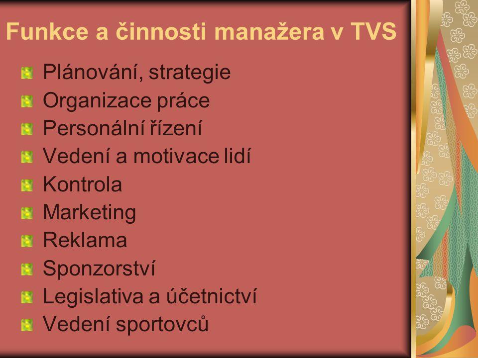 Funkce a činnosti manažera v TVS Plánování, strategie Organizace práce Personální řízení Vedení a motivace lidí Kontrola Marketing Reklama Sponzorství