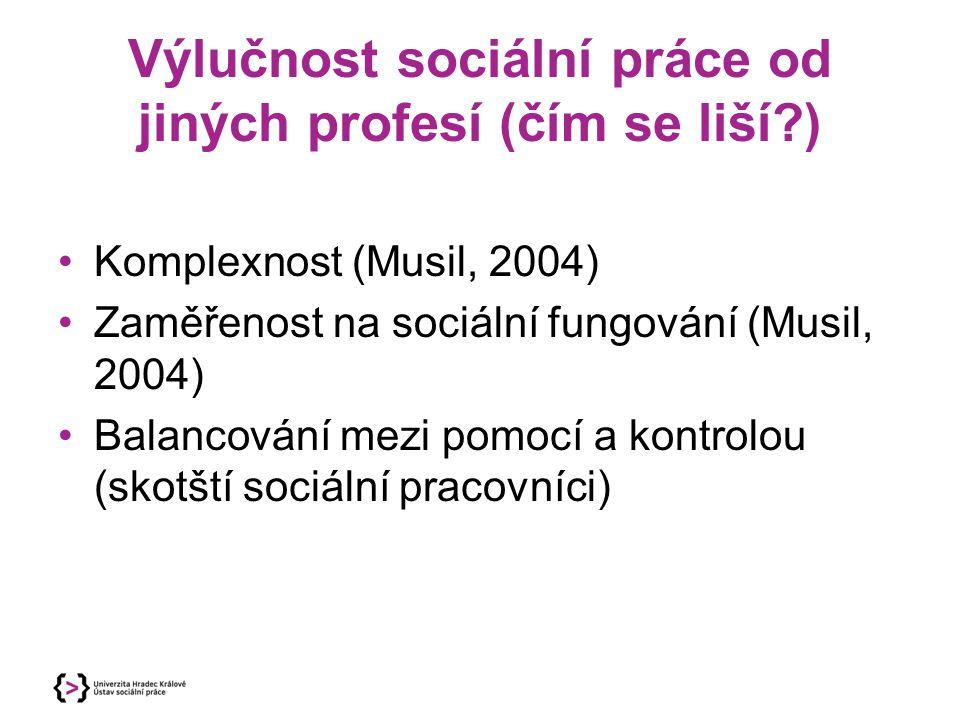 Výlučnost sociální práce od jiných profesí (čím se liší?) Komplexnost (Musil, 2004) Zaměřenost na sociální fungování (Musil, 2004) Balancování mezi po