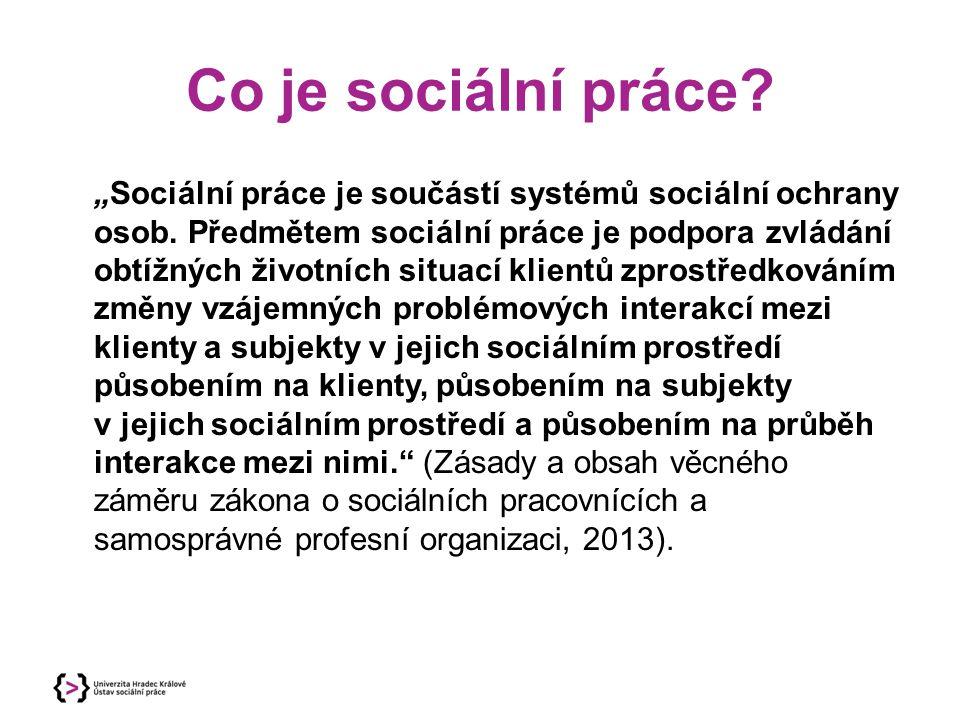 """Co je sociální práce? """"Sociální práce je součástí systémů sociální ochrany osob. Předmětem sociální práce je podpora zvládání obtížných životních situ"""