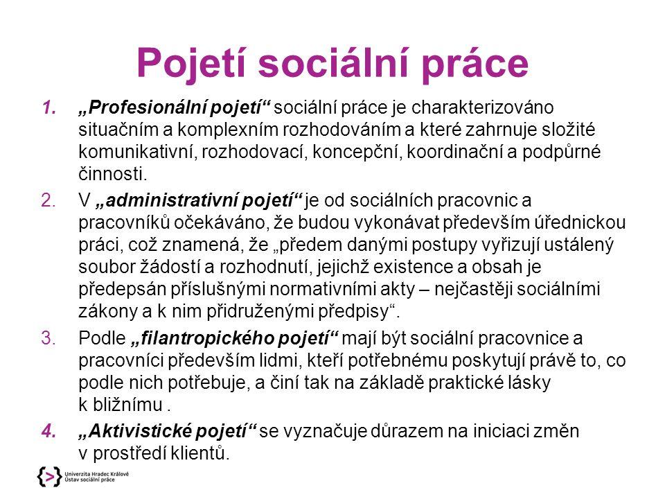 """Pojetí sociální práce 1.""""Profesionální pojetí"""" sociální práce je charakterizováno situačním a komplexním rozhodováním a které zahrnuje složité komunik"""