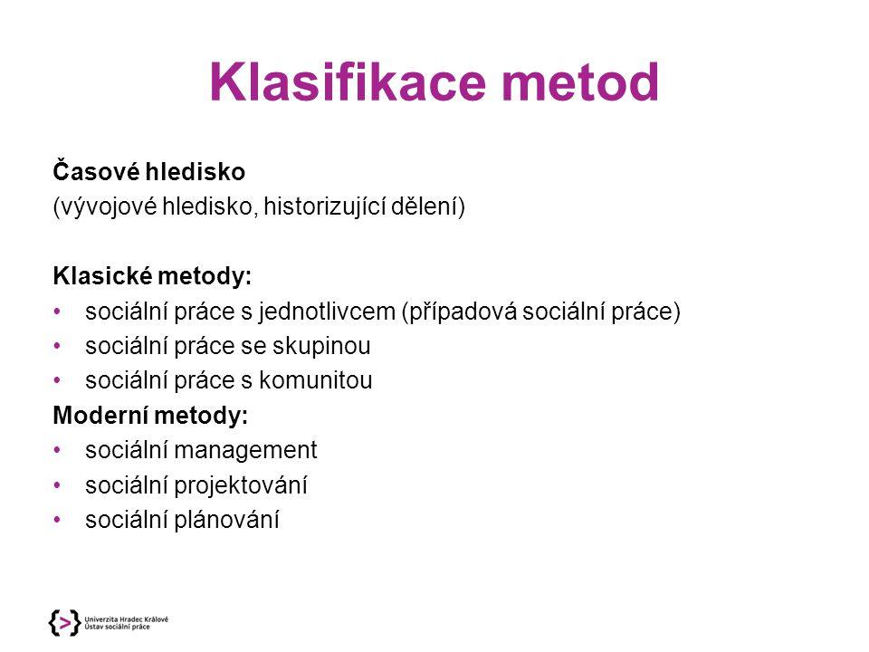 Klasifikace metod Časové hledisko (vývojové hledisko, historizující dělení) Klasické metody: sociální práce s jednotlivcem (případová sociální práce)