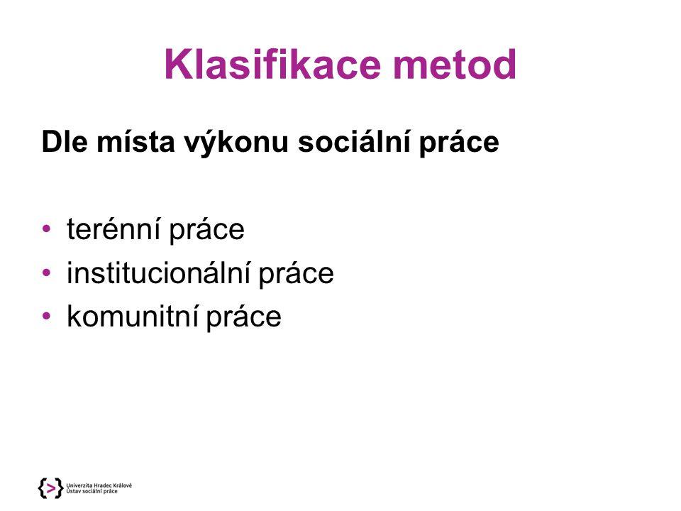 Klasifikace metod Dle místa výkonu sociální práce terénní práce institucionální práce komunitní práce