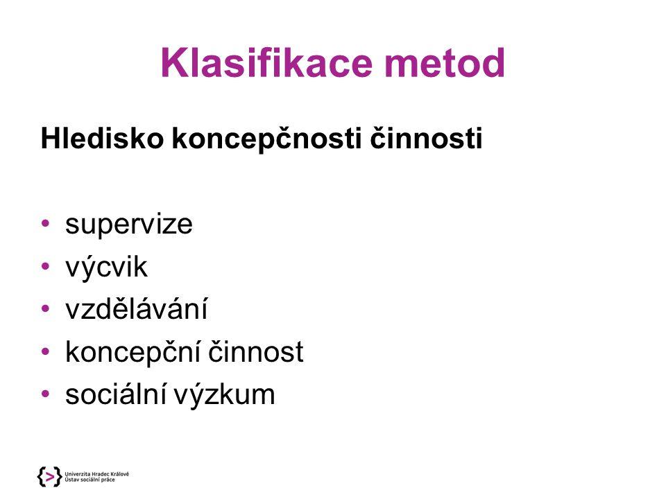 Klasifikace metod Hledisko koncepčnosti činnosti supervize výcvik vzdělávání koncepční činnost sociální výzkum