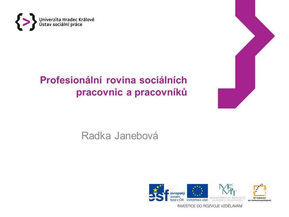 Tři roviny fungování sociálních pracovnic a pracovníků Pracovník jako osoba, která musí pracovat na svém sebepoznání a sebeporozumění Pracovník jako profesionální osoba.