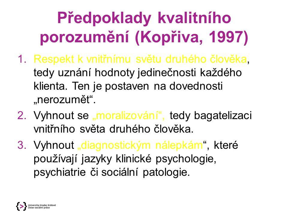 Předpoklady kvalitního porozumění (Kopřiva, 1997) 1.Respekt k vnitřnímu světu druhého člověka, tedy uznání hodnoty jedinečnosti každého klienta. Ten j