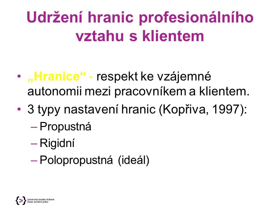 """Udržení hranic profesionálního vztahu s klientem """"Hranice"""" - respekt ke vzájemné autonomii mezi pracovníkem a klientem. 3 typy nastavení hranic (Kopři"""