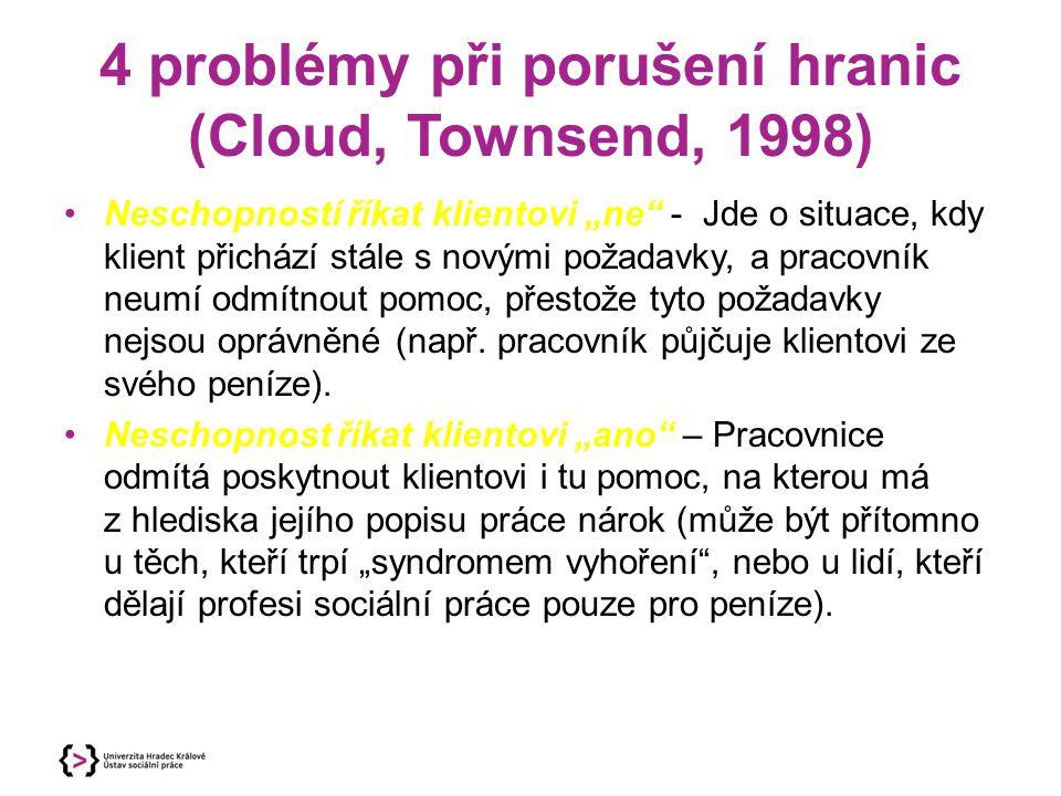 """4 problémy při porušení hranic (Cloud, Townsend, 1998) Neschopností říkat klientovi """"ne"""" - Jde o situace, kdy klient přichází stále s novými požadavky"""