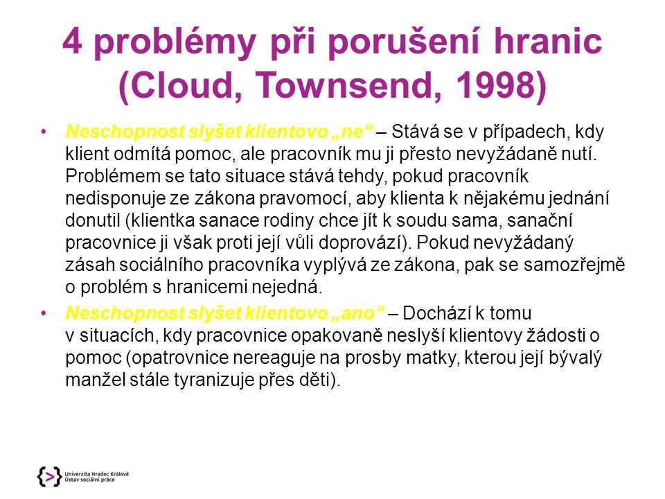 """4 problémy při porušení hranic (Cloud, Townsend, 1998) Neschopnost slyšet klientovo """"ne"""" – Stává se v případech, kdy klient odmítá pomoc, ale pracovní"""