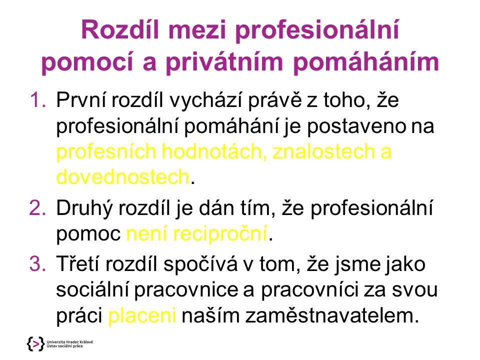 Rozdíl mezi profesionální pomocí a privátním pomáháním 1.První rozdíl vychází právě z toho, že profesionální pomáhání je postaveno na profesních hodno