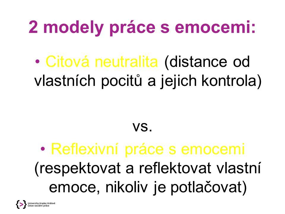 2 modely práce s emocemi: Citová neutralita (distance od vlastních pocitů a jejich kontrola) vs. Reflexivní práce s emocemi (respektovat a reflektovat