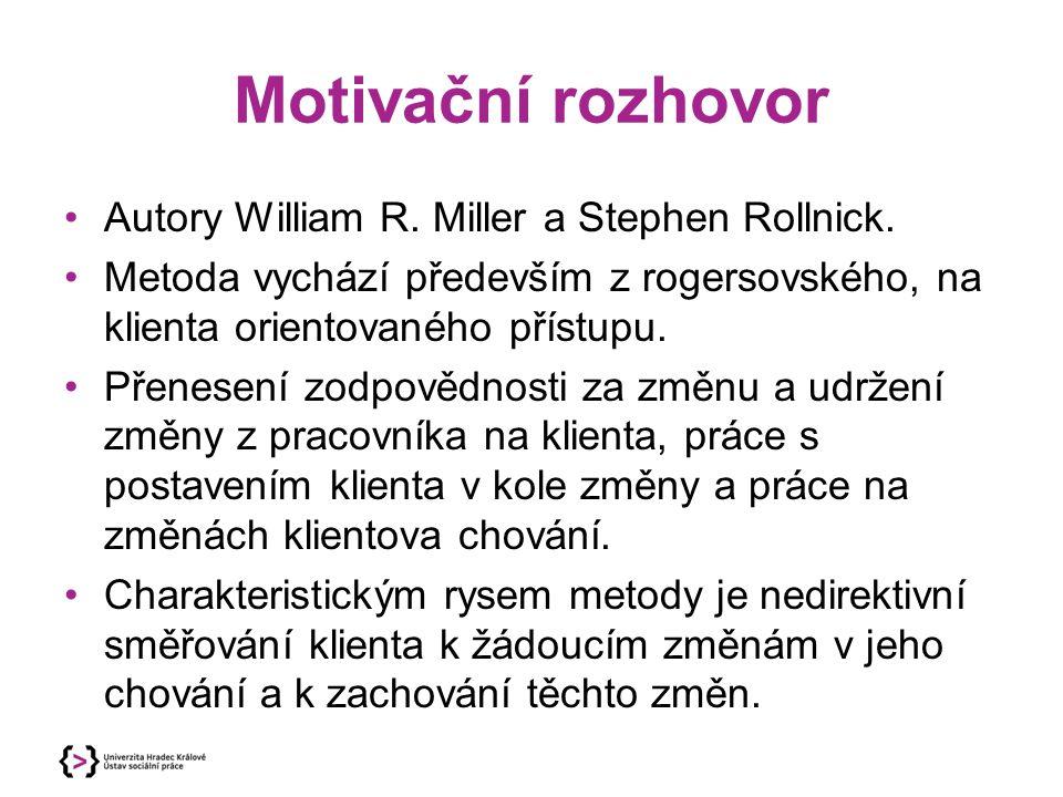Motivační rozhovor Autory William R. Miller a Stephen Rollnick. Metoda vychází především z rogersovského, na klienta orientovaného přístupu. Přenesení