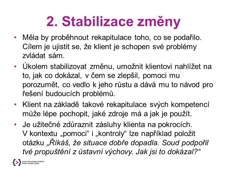 2. Stabilizace změny Měla by proběhnout rekapitulace toho, co se podařilo. Cílem je ujistit se, že klient je schopen své problémy zvládat sám. Úkolem