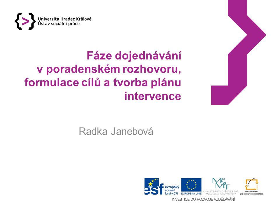 Fáze dojednávání v poradenském rozhovoru, formulace cílů a tvorba plánu intervence Radka Janebová