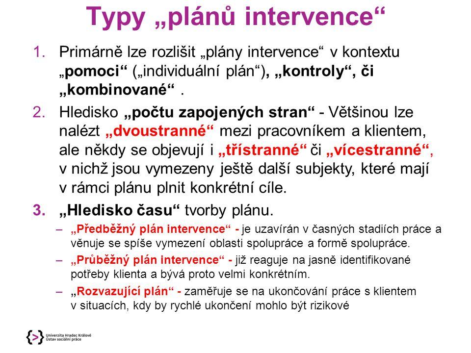 """Typy """"plánů intervence"""" 1.Primárně lze rozlišit """"plány intervence"""" v kontextu """"pomoci"""" (""""individuální plán""""), """"kontroly"""", či """"kombinované"""". 2.Hledisko"""