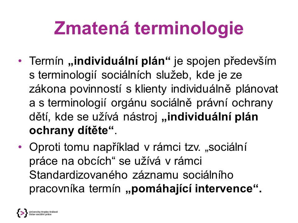 """Zmatená terminologie Termín """"individuální plán"""" je spojen především s terminologií sociálních služeb, kde je ze zákona povinností s klienty individuál"""