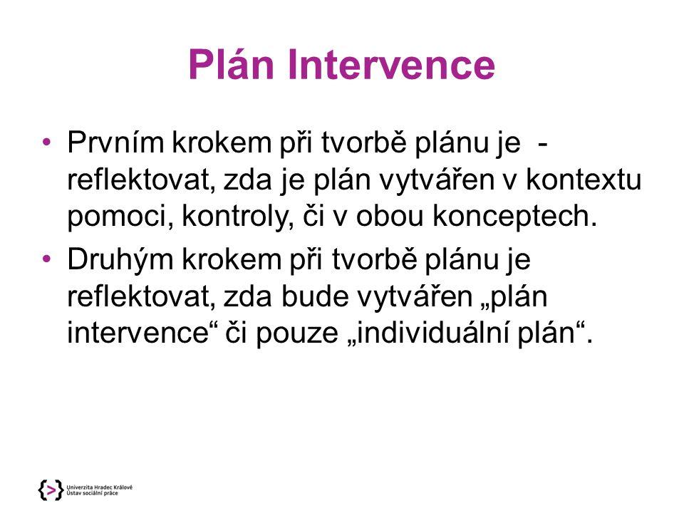 Plán Intervence Prvním krokem při tvorbě plánu je - reflektovat, zda je plán vytvářen v kontextu pomoci, kontroly, či v obou konceptech. Druhým krokem