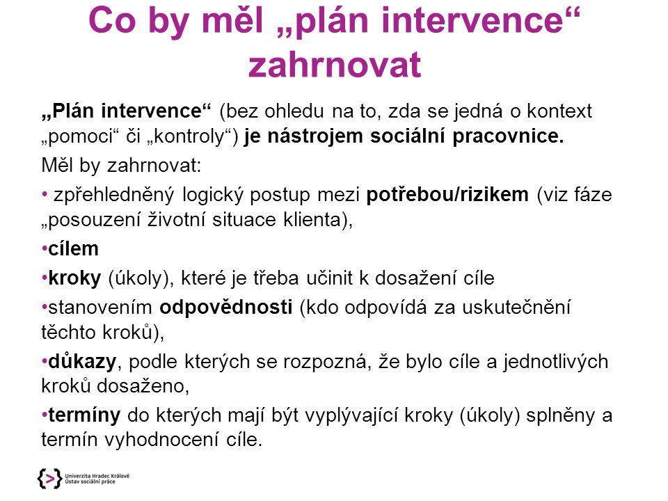 """Co by měl """"plán intervence"""" zahrnovat """" Plán intervence"""" (bez ohledu na to, zda se jedná o kontext """"pomoci"""" či """"kontroly"""") je nástrojem sociální praco"""